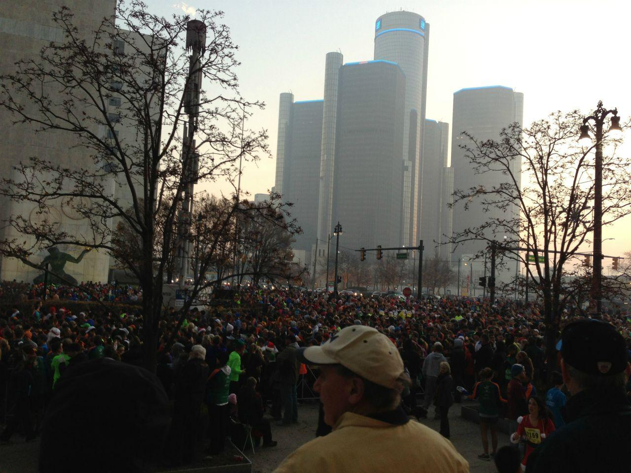A record number of people gathered Thanksgiving morning this year to participate in Detroit's annual Turkey Trot.