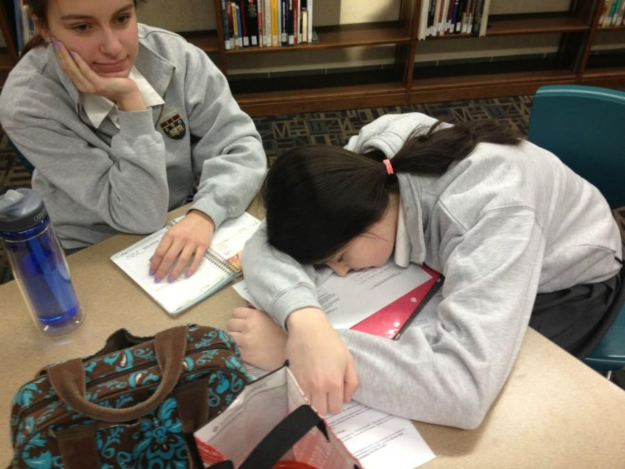 Junior Tillie Kozlowski is exhausted while studying for her upcoming US History test.   Photo Credit: Teagan Dillon