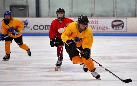 Junior Emma Zeumer handles the puck in a hockey game.  Photo reprinted with permission from Emma Zeumer