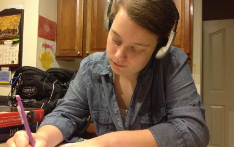 Freshwoman Samantha Schubert is an advocate of listening to music while doing homework because it blocks out distracting noises and keeps her awake when she works late into the night. Songs that accompany her homework hours include