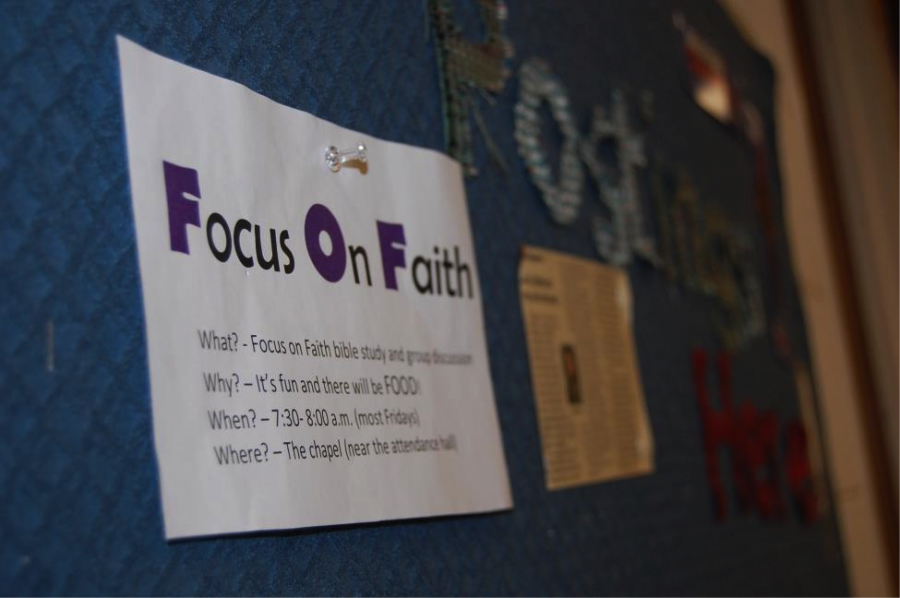 Focus on Faith, formally Faith on Fridays, is a student-run bible study held in the Chapel every Friday.