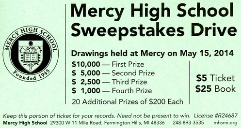 Mercy sweepstakes kicks off with its annual assembly, encouraging  students to sell as many sweepstakes books as possible.