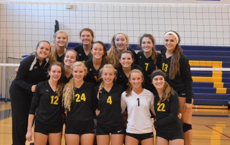 The Marlins took first place in the Marian Early Bird tournament, after meeting the home team in the finals and winning in two games (Molly Schwalm).
