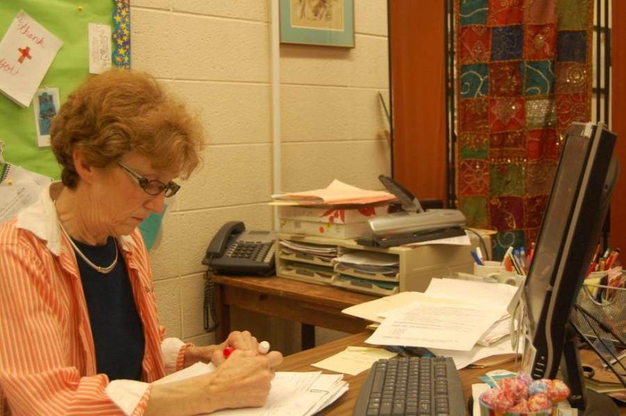 Pastoral Minister Ms. Carol MacLennan sits in her office and plans for future retreats (Zaynah Siddique).