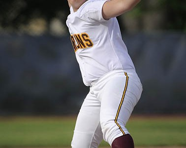 Junior Abby Krzywiecki is the starting pitcher on the varsity softball team (Photo Credit: John Sobczak).