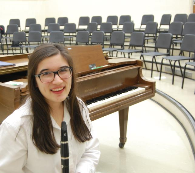 Senior Sarah Hughes joined Mercy's symphony orchestra as a senior (Photo Credit: Theresa Walle).