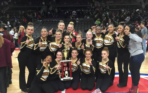 The Mercy Pompon team poses with their first place trophy at the Palace of Auburn Hills Pompon Competition on Jan. 17 (Photo Courtesy: Larry Baker).