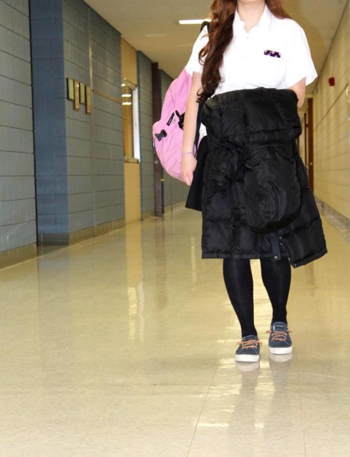 Last semester students became allowed to carry their coats around school with them without being jugged and recently, this rule has become very relevant (Photo Credit: Nicole Di Ponio).
