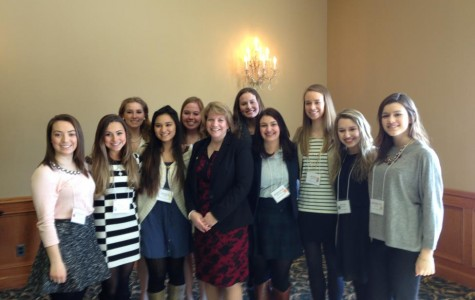 Students met with 37th District State Representative Christine Greig, another conference attendee. (Left to right: Morgan Pfaff, Megan Haase, Kelly Eusebi, Halle Mohr, Rachel Wagner, State Representative Christine Greig, Chrissie Clayton, Eleanor K., Sarah Henning, Julia Petroff, and Katelyn Toloff) (Photo Credit: Ms. Cindy Richter).