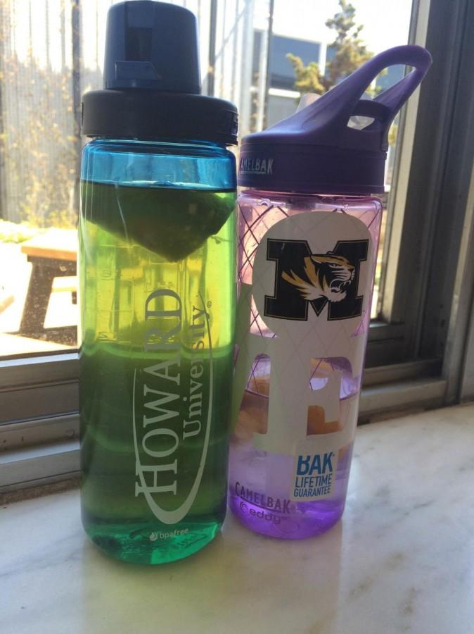 Some students use HBCU water bottlesto show support for their future schools. (Photo credit: Alycia Washington)