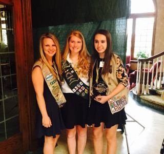 (Pictured from left to right) Senior Peyton Pawlusiak, Junior Annie Leuker, and Senior Natalie Apollinari.  Apollinari earned the 2015 Women of Distinction Honor.  She will serve as a spokesperson for the Girl Scout council.  Her project also advanced to the national level (Photo credit: Paul Pawlusiak).