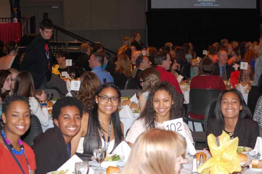 Coklow (second to last on the left) enjoys the Statesmen dinner at the annual State Conference in Grand Rapids (Photo credit: Paisley Sutton).