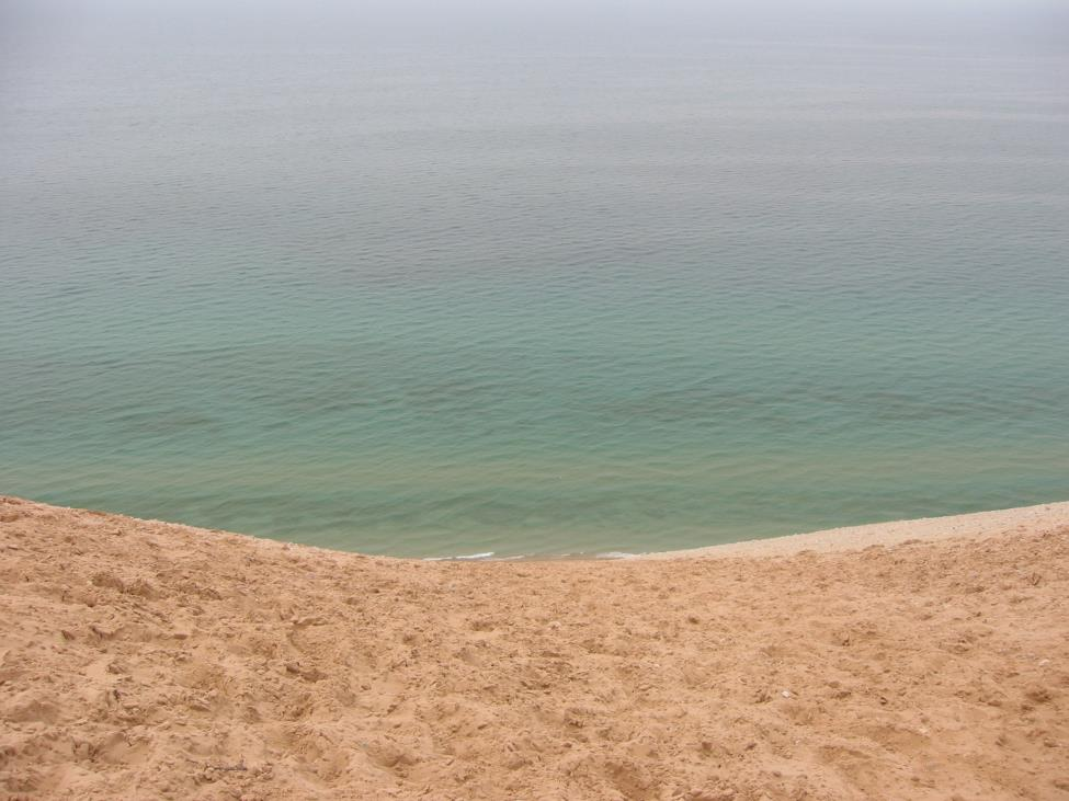 Lake Michigan, the third largest Great Lake, currently holds such clear water due to melting ice and the zebra mussels and quagga that have provided filtration, allowing the bottom of the lake to be seen vividly from the sky (Photo Credit: Danya Ziazadeh).