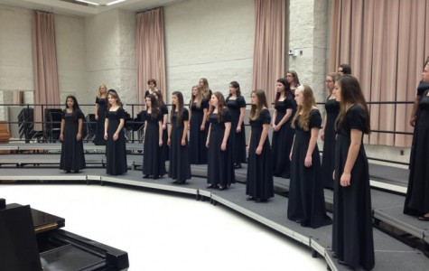 A choir must be over a specific size to qualify for choral festival, so the Mercyaires and Advanced Glee  joined forces to compete (Photo credit: Mrs. Rebekah Ferguson).