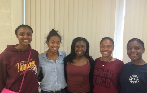 The newly elected board members (from the left Paisley Sutton, Arin Bell, Darrien Fordham, Chanel Taylor, and Olivia Holt) have been members of B.A.S.E. since their freshman year (Photo credit: Taylor Munson).