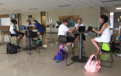 Students enjoy using the furniture to work on group projects together.