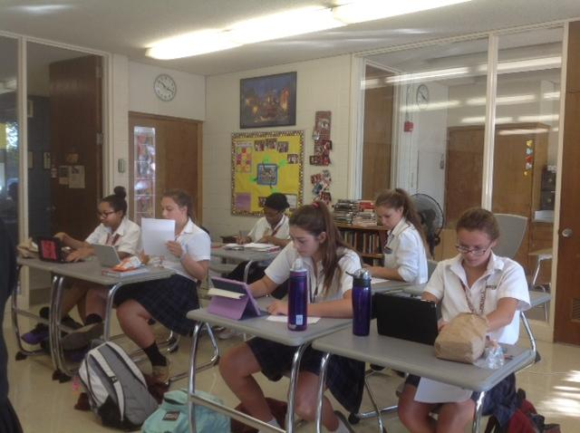 Latin II and III students worked hard to write persuasive letters in Latin to Pope Francis about Catherine McAuley's canonization. (Photo credit: Katherine Colleran)