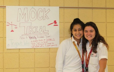 Senior co-captains of Mercy's Mock Trial team Kathryn Dunleavy and Nadia Hakim are excited to begin tryouts for the team and get started working on this year's case.  (Photo credit: Alana Sullivan)
