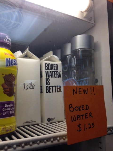 Although Boxed Water is slightly more expensive than the bottled water in the cafeteria, the new addition is much better for the environment. (Photo credit: Katherine Colleran)