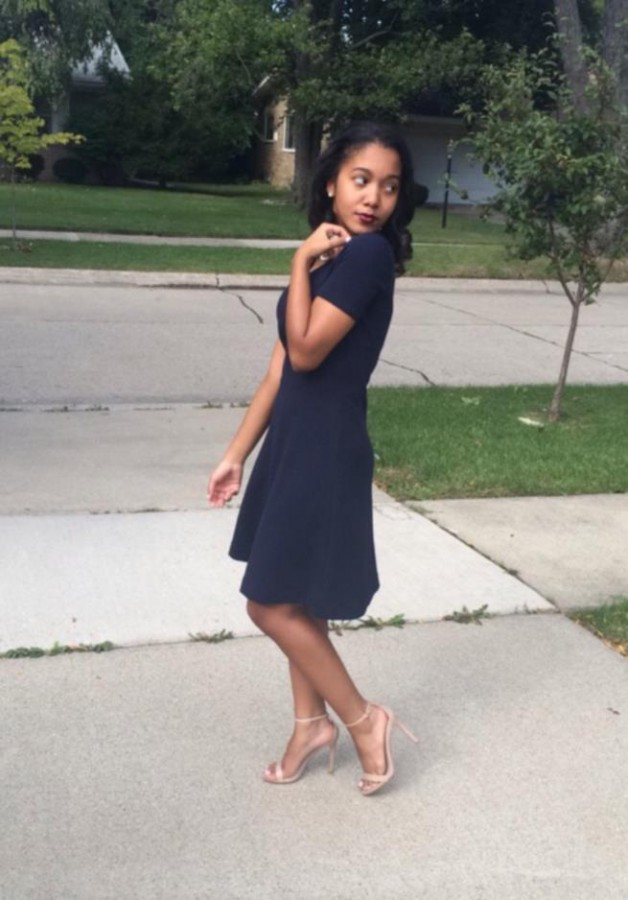 Bell+is+wearing+a+regal%2C+J+Crew+dress+and+classy+strappy+Steve+Madden+heels.+%28Photo+credit%3A+Angelique+Wimbush-Bell%29