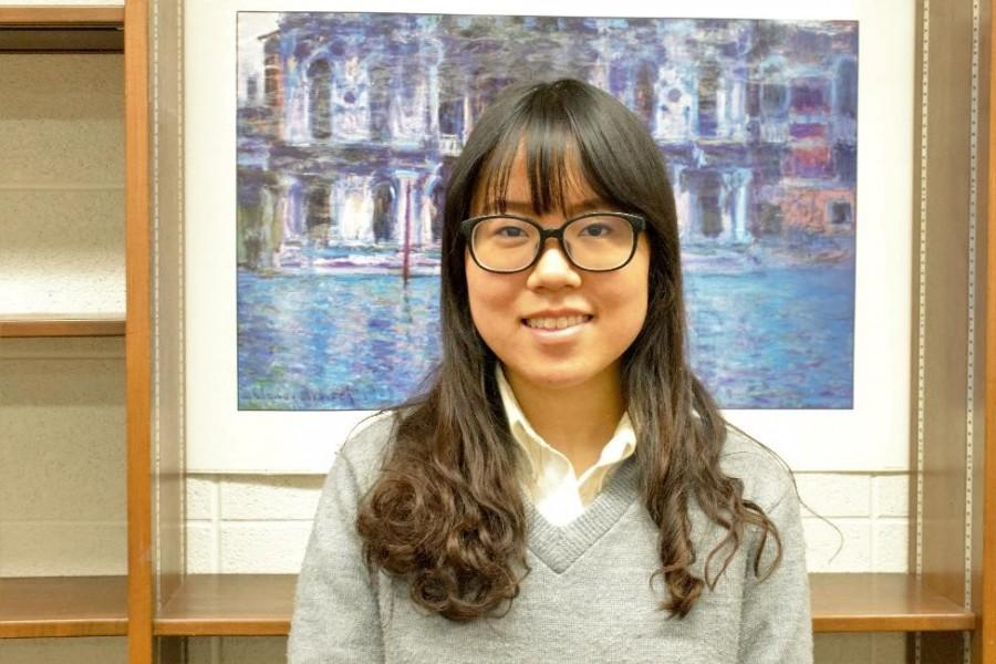 Senior Molane Hu has broken Mercy's record for the number of art awards won by a student. (Photo credit: Emma Kruse)