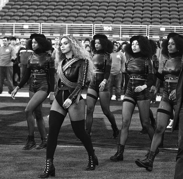 "Beyoncé Knowles performs her latest song ""Formation"" at the Super Bowl 50 halftime show. (Photo Credit: Fair Use Instagram)"