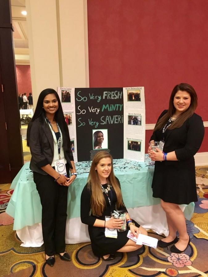 Juniors Katelynn Smith and Bridgett Eusebi help Saveri Nandigama campaign for a spot on the BPA State Council. (Photo courtesy of Saveri Nandigama)