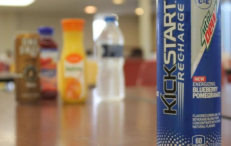 Currently, the cafeteria only sells Mountain Dew Kickstart Recharge in one flavor: blueberry pomegranate. (Photo credit: Caitlin Somerville)
