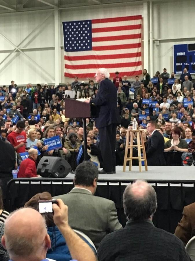 Supporters+along+with+the+politically+inclined+listen+intently+to+presidential+candidate+Bernie+Sanders+as+he+addresses+the+crowd+gathered+for+his+rally.+%28Photo+courtesy+of+Carmela+Sleva%29