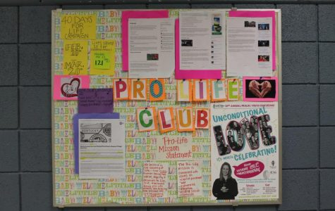 Current articles and information, along with the club's mission statement, are posted on the Pro-life club board. Stay updated on the club's events and current events regarding pro-life issues by stopping by the board, located across from the art room.