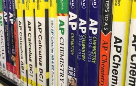 One of the best ways to study is to buy an AP practice exam book. These are filled with useful information, such as the format and major topics, as well as multiple practice exams. (Photo used with permission from Sarika Shah)