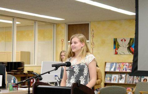 Junior Jordyn Kreucher gives her speech as a returning FHS officer. (Photo credit: Emma Kruse)