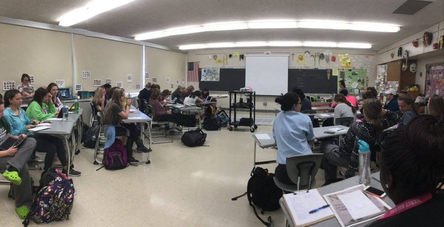 Club members gathered in Latin teacher and club moderator Mrs. Marquard's room for the meeting. (Photo credit: Mrs. Marquard)