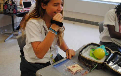 Junior, Makena Duval snacks on a plant-based lunch, which is both nutritious and easy to prepare.
