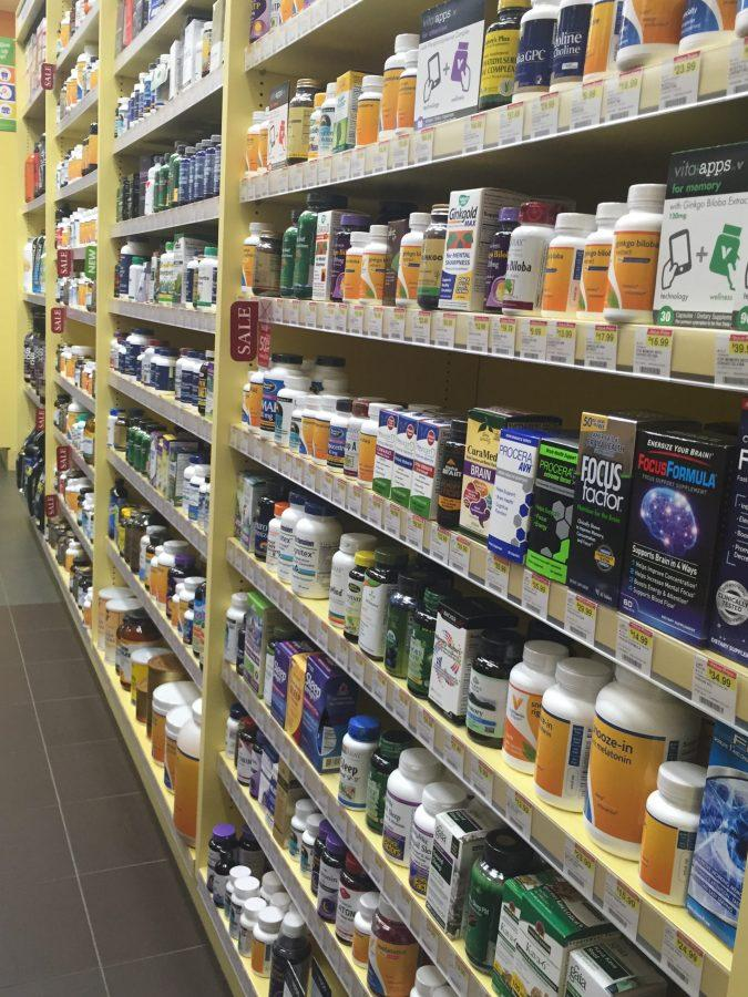 The entire shelf of the Vitamin Shoppe is designated for enhancing brain vitamins. (Photo Credit: Clarisa Russenberger)