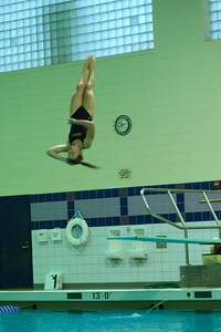 Junior Alexa Rybicki placed top 16 at the MHSAA State Diving Championships last year, helping Mercy claim a third place finish. (Photo Credit: Isha Ganguli)