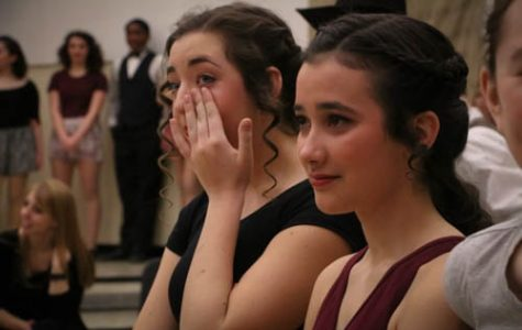 Seniors Regan Castle and Edie Jones are moved to tears after hearing how much Mercy theater has impacted Aim High senior Jonathan Stecevic's life.