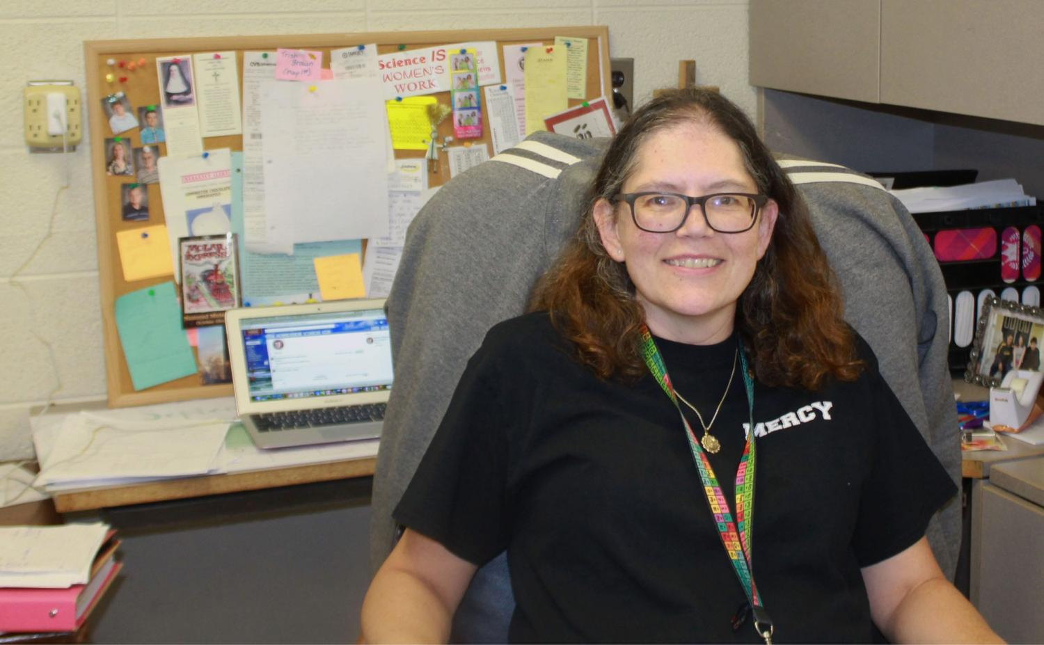 Lisa Schrimscher teaches both math and science at Mercy, but runs a side embroidery business with a long-time friend.