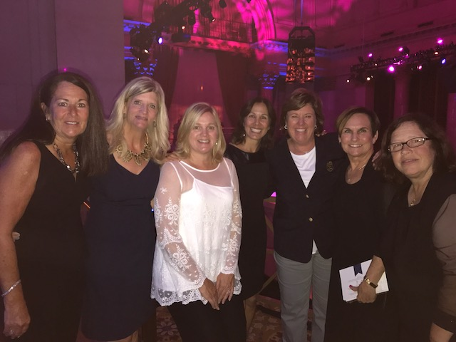 (From left to right) Patty Hildebrand Dugan, Debby Kennedy Hannigan, Amy Byrne Holland, Eileen Ramos Segal, Meg Mallon, Dr. Cheryl Kreger and Vicky Kowlaski attend the induction ceremony at the Cipriani Wall Street Event Hall