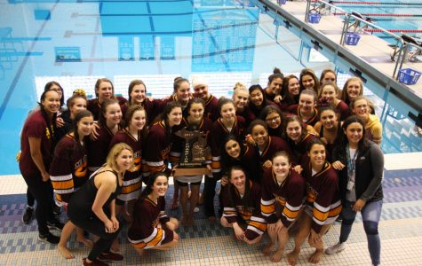 Mercy's Swim, and Dive Team celebrates their victory at State Championships at Oakland University. (Photo taken with permission from: Francesca Schena.)Mercy's Swim, and Dive Team celebrates their victory at State Championships at Oakland University. (Photo taken with permission from: Francesca Schena.)Mercy's Swim, and Dive Team celebrates their victory at State Championships at Oakland University. (Photo taken with permission from: Francesca Schena.)