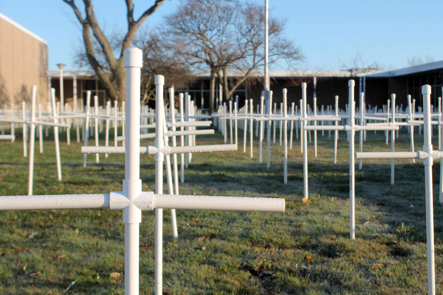 The 2017-2018 Pro Life leaders ended their year with a memorial to the lost children through abortion. Each cross stands for three of the 3,000 babies lost each day in the United States.