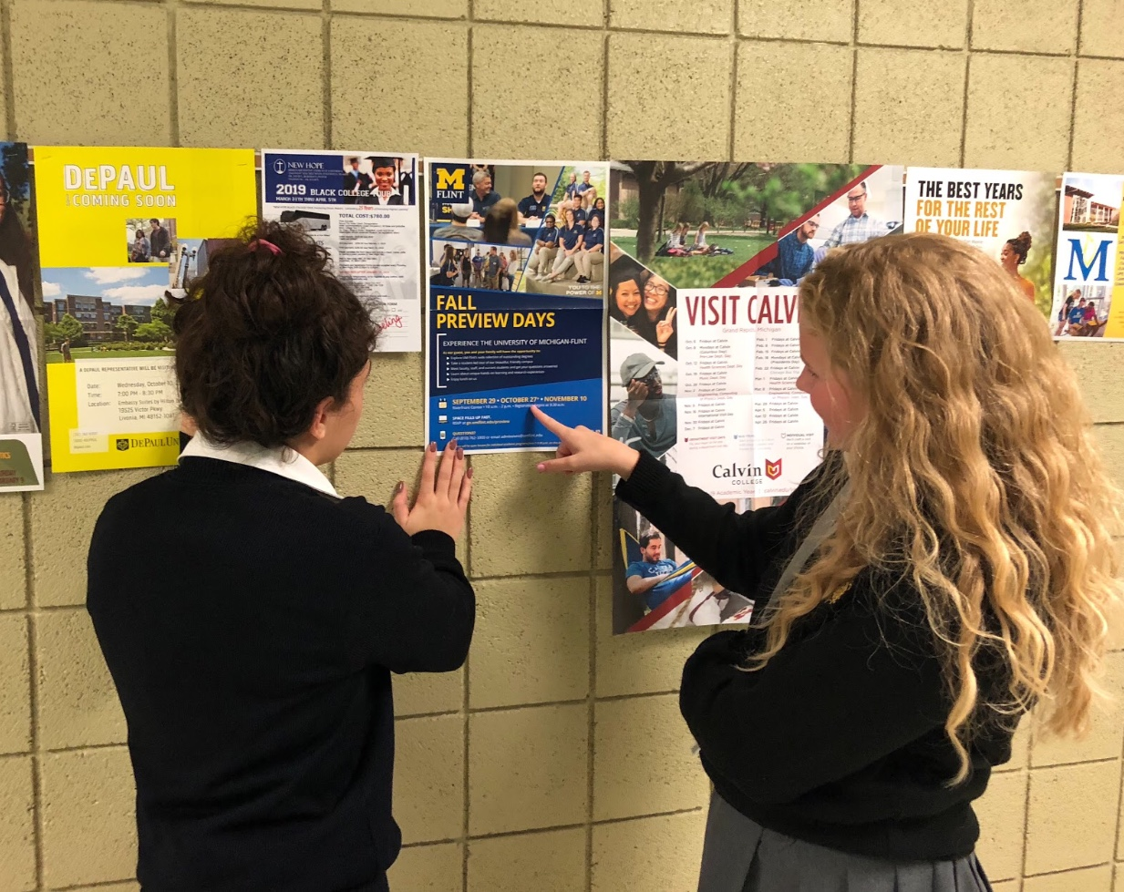Flyers hang in the counseling hall for students to read and discover new opportunities from colleges all around the country.  Photo by Lydia Giroux