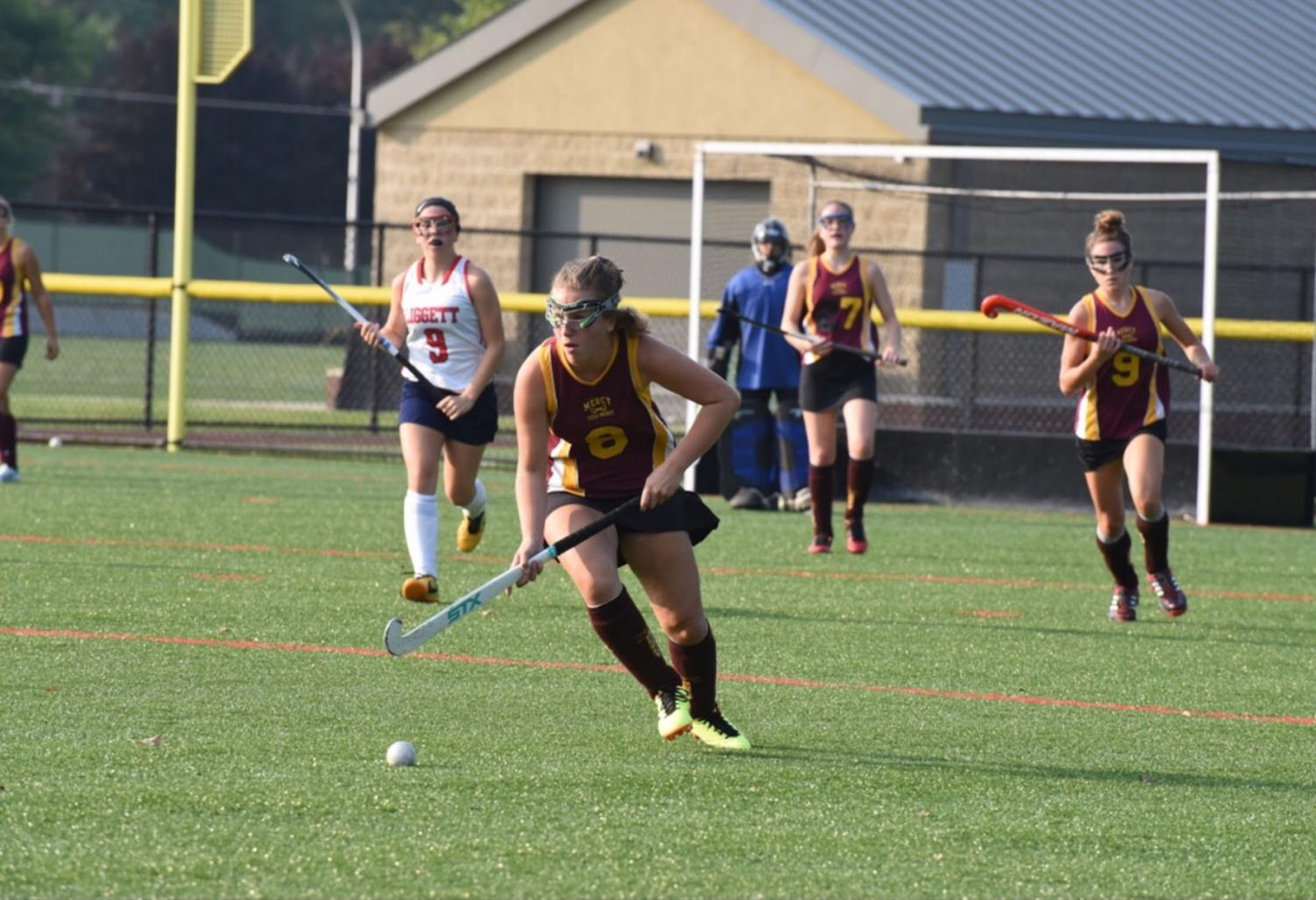 Junior Sydney Takla drives down the field with her head in the game determined to leave with a victory.  Photo used with permission from Sydney Takla