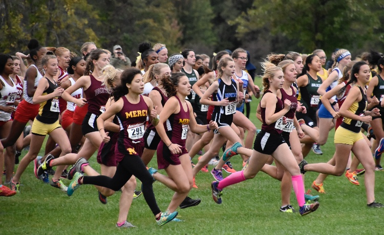 Mercy's Cross Country team runs alongside other district girl teams in the Catholic League Championships, bringing home several individual awards. Photo used with permission from: Jennifer Dickie