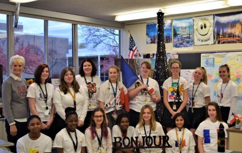 The French two class celebrates French Week by showcasing their self-designed shirts.  Photo by Julia Canty