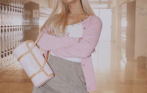 Ariana Grande poses in her Mean Girls outfit as she gets ready to record.  Fair use: Instagram