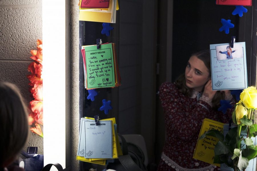 """Bocketti adds the finishing touches to her costume, getting ready for her first Mercy show, """"The Miracle Worker."""" Photo by: Caitlin Flynn"""