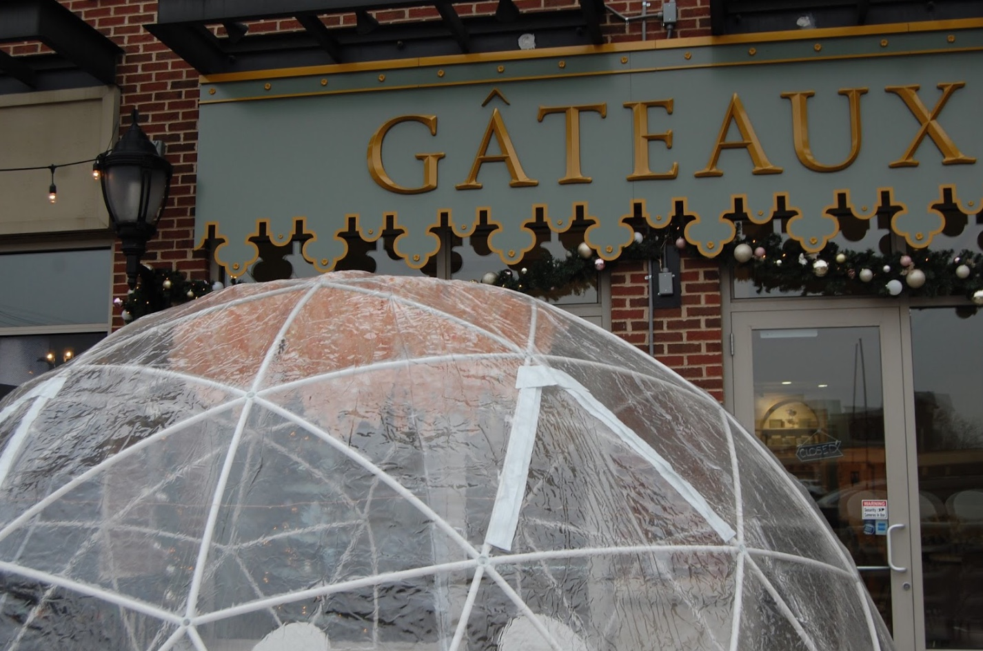 Gateaux offers a variety of seating in both the outdoor igloo and indoor cafe.  Photo by: Colleen Thomson