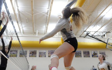 Loussia plays outside hitter and spikes the ball over the net, scoring a point for the Mercy Varsity volleyball team.  Photo used with permission from Ella Loussia