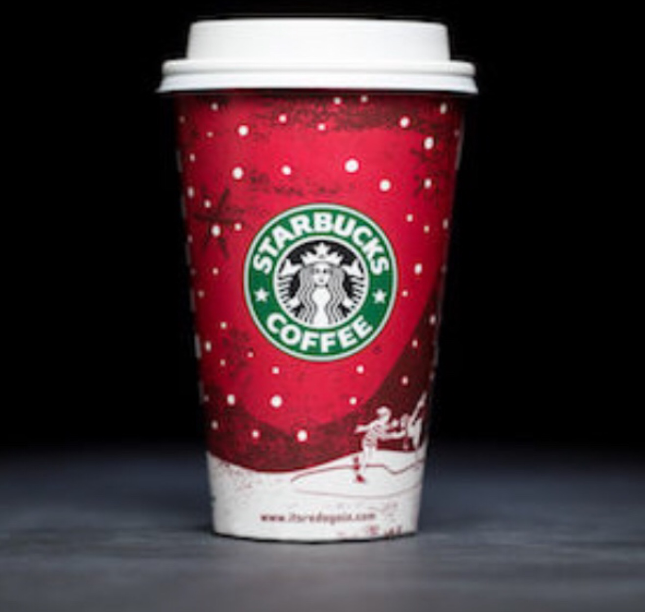This is one of the holiday Starbucks cup from 2007. One of the many cups with controversy because of its Christmas symbols like the reindeer, snowflakes, and pine trees.  Photo used with permission from Joshua Trujillo
